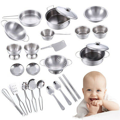 25pcs Children Kids Play kitchen Toy Food Learning Stainless Steel Cooker