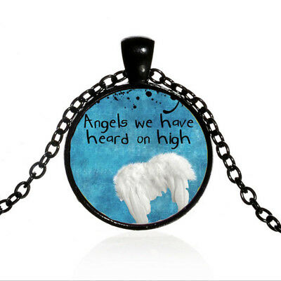 Vintage Heard on High Cabochon Black Glass Chain Pendant Necklace