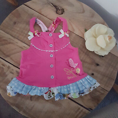 Baby Toddler Girl SPROUT Pink & Floral Ruffle Sleeveless Swing Top Summer Size 1