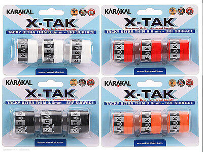 3 Karakal X-Tak Grips/Overgrips - Choice Of Colours - Free P&P