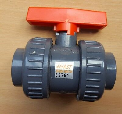 32 mm (Metric) PVC Ball Valve - Double Union by Effast  Plain Ends