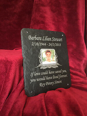 New Larger Memorial Grave Plaque - Personalised with verse & photo 30cm x 25cm