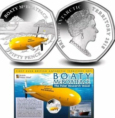 50P COIN 2018  BRITISH ANTARCTIC TERRITORY  Boaty McBoatFace. Pobjoy sold out