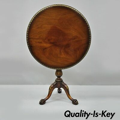 Mahogany Chippendale Style Pie Crust Tilt Top Tea Table Ball and Claw Feet