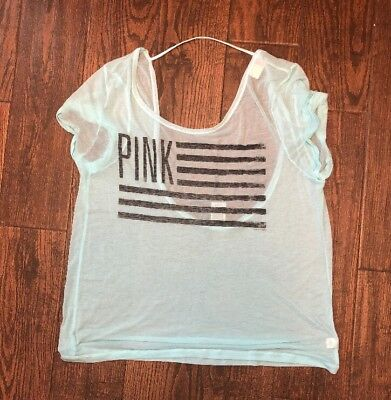 PINK VICTORIA/'S SECRET GREEN VIBES OPEN BACK HIGH LOW SHORT SLEEVE TEE NEW