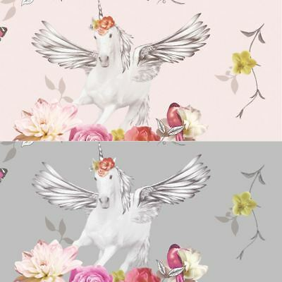 Arthouse Anastasia Unicorn Butterflies Dragonflies Glitter Metallic Wallpaper