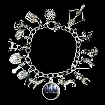 Game Of Thrones Themed Charm Bracelet silver tone