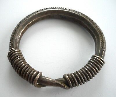 Heavy Old Coin Silver Hilltribe Coiled Bracelet Laos SE Asia