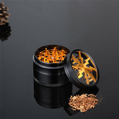 New 4 Layer Black & Gold Metal Hand Crank Herb Grinder Crusher Muller Pollinator