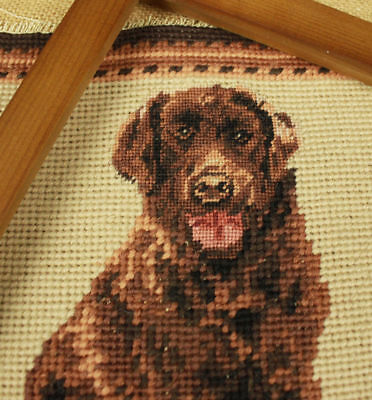Completed Wool Needlepoint Tapestry Canvas So Vivid Labrador Hand Stitched
