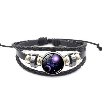 Charm Bracelet Women Black Glass Zodiac Constellation Leather Weave Metal Buckle