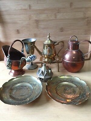 Mixed Lot Of 7 Vintage Copper & Brass Items Guernsey Creamer Scuttle Bell Kettle