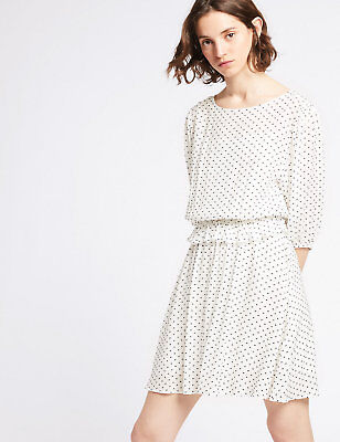 Ex Marks and Spencer Spotted 3/4 Sleeve Mini Tea Dress RRP £39.50