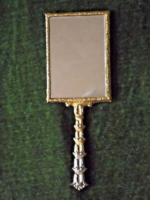 Pretty French Antique Gold Colored Metal Double Sided  Hand Held Vanity Mirror