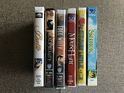 Lot of 6 VHS movies - Shrek, Free Willy, Stuart Little, Balto, Black Beauty