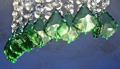 10 Chandelier Cut Glass Crystals Drops Leaf Green Leaf Prisms Wedding Love Beads