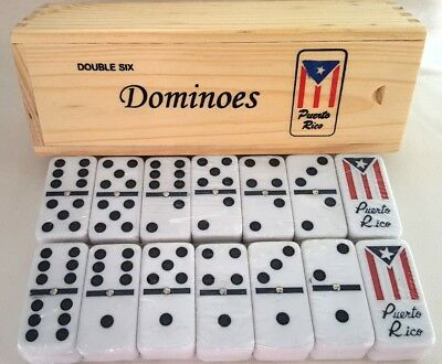 Dominoes Wood Case Ivory Classic Puerto Rico Flag Doble Seis Domino Double Six 6