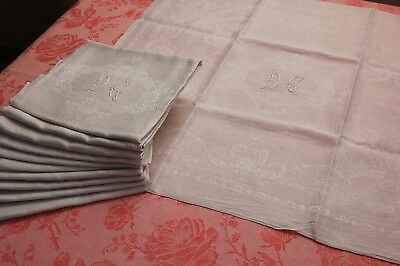 "SET 10 Antique French Linen Silk Damask Napkins Monogram Serviette 25""x26"" WHITE"
