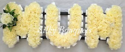 Artificial Silk Funeral Flower Mum Any 3 Letter Tribute Nan Son Dad Wreath