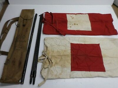 Vintage WWII US ARMY FLAG KIT with CANVAS CASE & SHOULDER STRAP