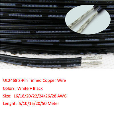 2Pin White+Black UL2468 Tinned Copper Flexible Stranded Electronic Wire 16~28AWG