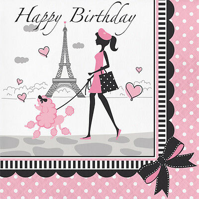18 Party in Paris Happy Birthday Dinner Lunch Napkin Eiffel Tower Pink Poodle OO