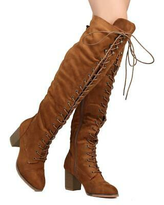 30aaf3d424f GOLIATH 01 WOMENS Thigh High Lace UP Chunk Heel Combat Boots ...