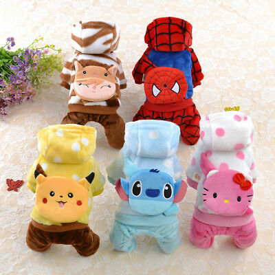 Warm Cat Dog Costume Cartoon Small Pet Puppy Clothes Jumpsuit Hoodie Coat Outfit