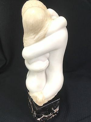 Signed ART 1971 Embracing Nude Couple Marble Sculpture Alva Museum White Resin