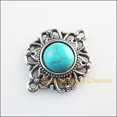 4Pcs Retro Tibetan Silver Tone Turquoise Round Flower Charms Connector 21.5x28mm