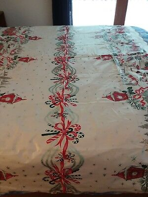 "Vintage Vinyl Tablecloth Christmas and Birthday Reversible 53"" x 77"""
