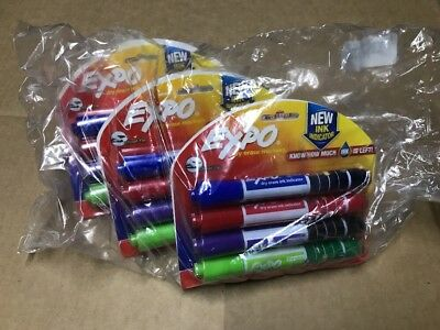 6 Packs Of 4 Dry Erase Markers w/ Ink Indicator Assorted Colors Green Blue Red