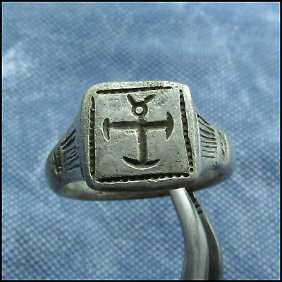 >> Cross - Monogram<<  Ancient Silver Byzantine Ring !!!