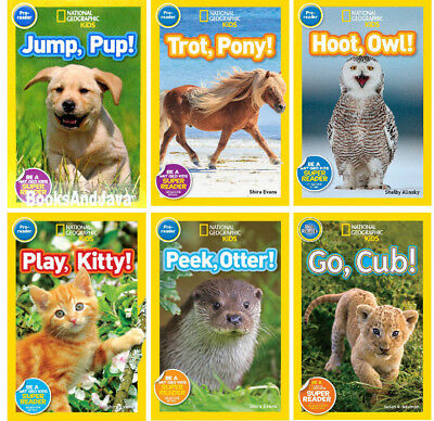 National Geographic Kids Pre-Reader Trot Pony,Jump Pup,Hoot Owl+(6 Paperbacks)