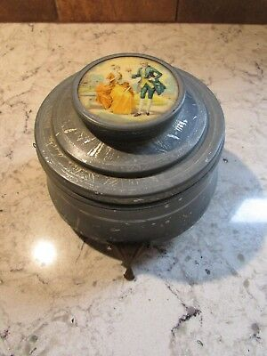 Vintage Metal Vanity Music Box Powder Jar With Mirror - Still works