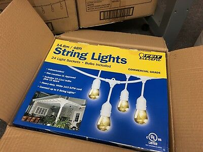 **RARE** WHITE -Feit Electric 48ft / 14.6m Outdoor String Lights