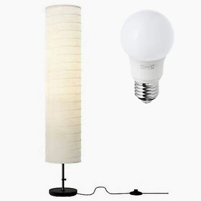 Tall floor standing lamp ikea holmo white paper shade black base tall floor standing lamp ikea holmo white paper shade black base reading light aloadofball Image collections