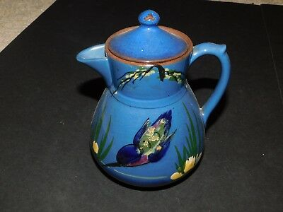 Longpark Torquay Handpainted Kingfisher Coffee Or Hot Water Jug With Lid Devon