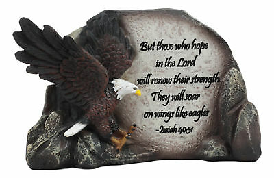 American Eagle By Rocky Cliff With Bible Verse Figurine Statue Office Plaque