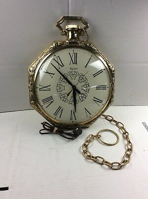 VINTAGE POCKET WATCH Wall Clock W/Chain United Clock Company Model
