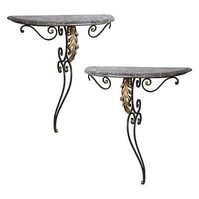 Pair of Louis XV Style Wall Hung Demilune Consoles in Wrought Iron and Marble