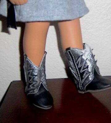 "Betsy Toodles Kissy 4/"" L 101.6mm BLACK Snakeskin boots fit Playpal types"