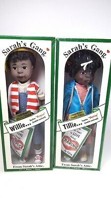 Sarah's Gang Willie & Tillie Gold Edition Dolls From Sarah's Attic Mint in Boxes