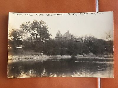 Riverside Il Ill Illinois RPPC Town Hall From DesPlaines River