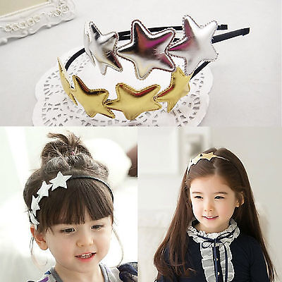 Princess Kids Girl PU Leather Star  Birthday Party Cute Headbands Hair Band NEW