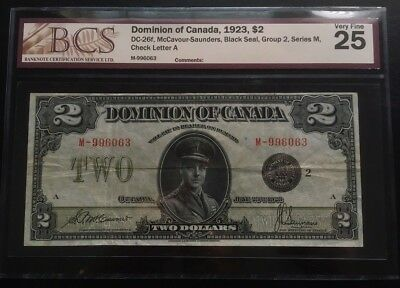 Canada 1923 $2 Dominion Banknote Bcs Vf-25 Black Seal Group 2 Beautiful Note!!