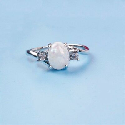 Vintage Women Ring Fire Opal Moon Stone Wedding Jewelry Rings Party Size 5-12