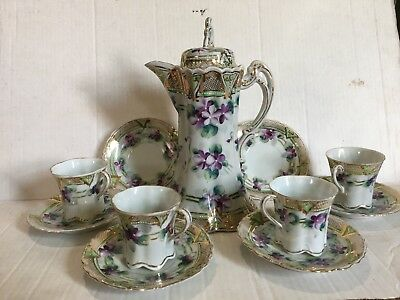 Vintage Hand-painted Violets Chocolate Tea Set Gold Trim Unmarked Nippon Pot Cup