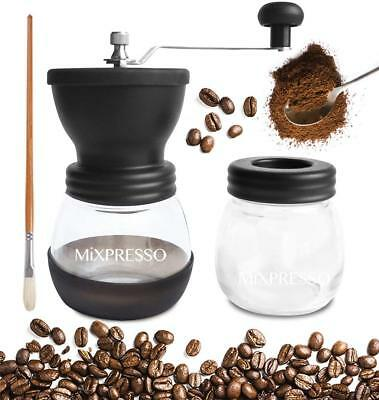 Manual Coffee Grinder Set, With Ceramic Burr Two Glass Jars And Soft Brush