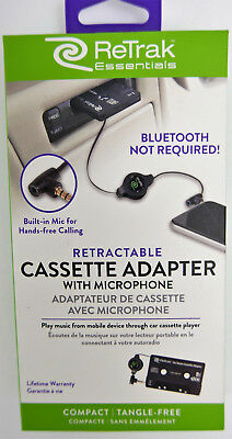 ReTrak Retractable Car Stereo Cassette Adapter and Mic for iPhone/Android Phones